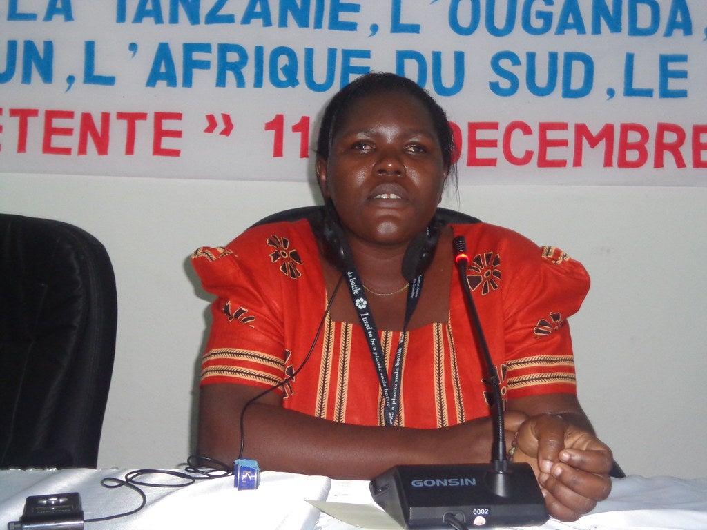 Photo of Ester Kyozira at a public presentation
