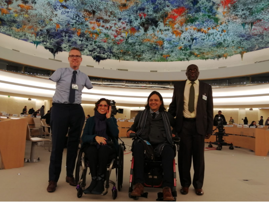 From left to right, Mr Stevenson, Ms Devandas, Ms Chavez and Mr Zhou in the room XX of Palais des Nations, where the Interactive Dialogue took place.