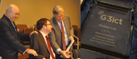 Vladimir Cuk recieving the G3ict Digital Accessibility Leadership Award from Axel Leblois
