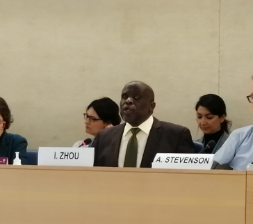 Mr Zhou giving the statement in the representation of IDA at the HRC43