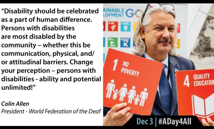 """Disability should be celebrated as a part of human difference. Persons with disabilities are most disabled by the community – whether this be communication, physical, and/or attitudinal barriers. Change your perception abiliability & potential unlimited"