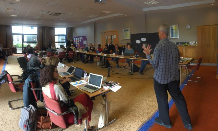 Daniel Mont presenting a session on poverty and disability on Day 2 of the BRIDGE Training of Trainers in Brighton