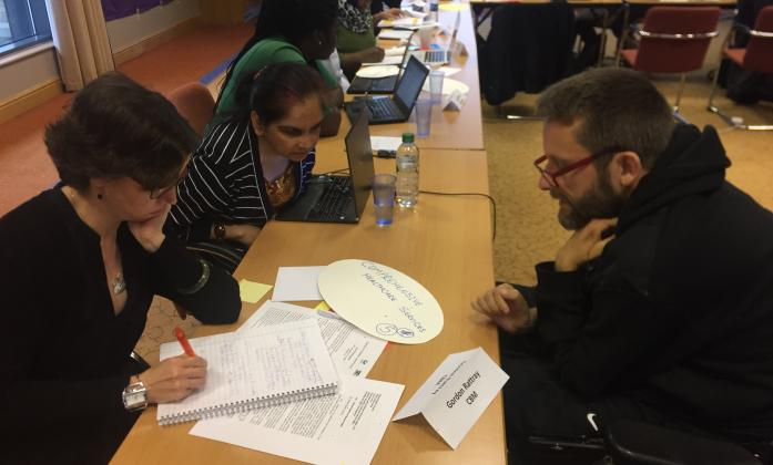Trainees work in groups to assess the meaning of SDG 3  its relation to the CRPD