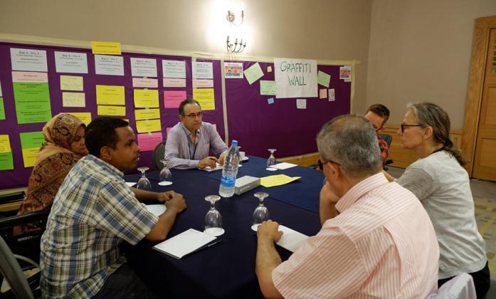 representatives from UN ESCWA discussing with Bridge participants