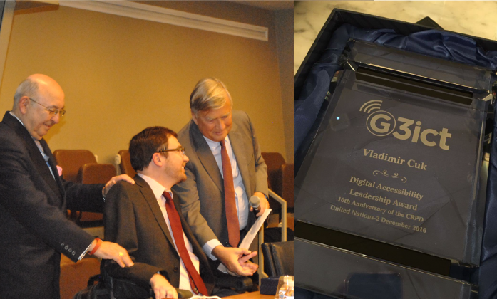 Vladimir Cuk receives the G3ICT Digital Accessibility Leadership award -