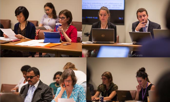 Split screen of conference delegates