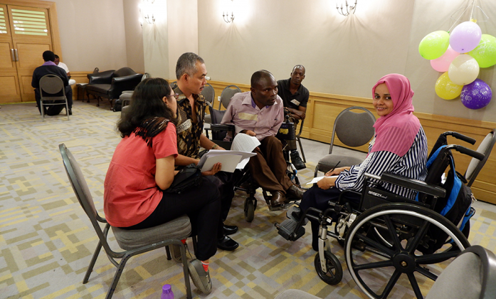 DPOs preparing presentation on humanitarian framework