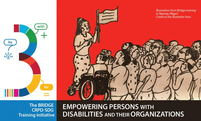 Illustration from BRIDGE Training in Niger, depicting woman explaining their rights to a group of persons with disabilities. Text: The bridge CRPD-SDG: Empowering persons with disabilities and their organizations.