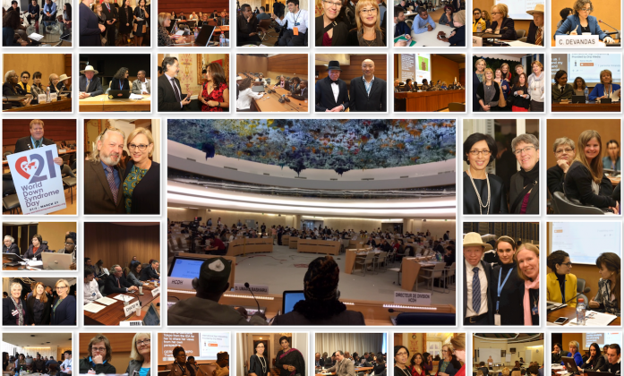 A collage of photographs taken during the HRC34, including images of the youth delegates.