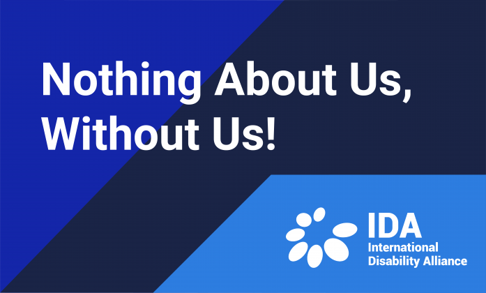 Poster with Nothing About Us, Without Us! With background in three shades of blue and the IDA logo in the corner