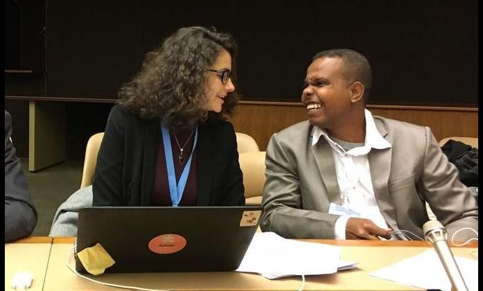 Alradi Abdallah from Sudan with Tchaurea Fleury from the IDA Secretariat.