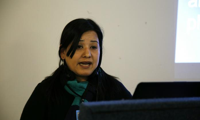 Pratima Gurung (General Secretary of Nepal Indigenous Disabled Association - NIDA) speaking at a parallel event within the CSW61 on empowering indigenous women with disabilities.