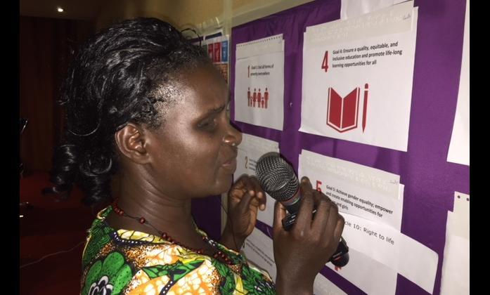 Agnes Abukito co-facilitating the workshop