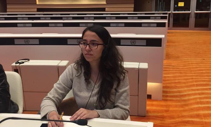 Fernanda Santa, a youth delegate from Latin America, attending a meeting of the CRPD Committee in Geneva, March 2017