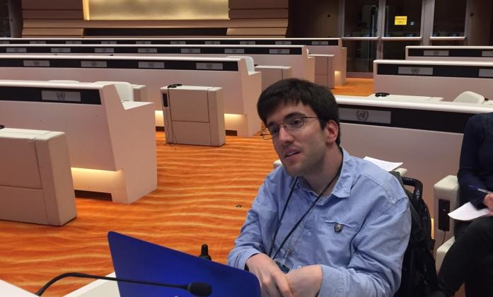 Matthieu Chatelin, Cerebral Palsy European Communities; Association and youth leader of the  European Disability Forum, attending a meeting of the CRPD Committee in Geneva, March 2017