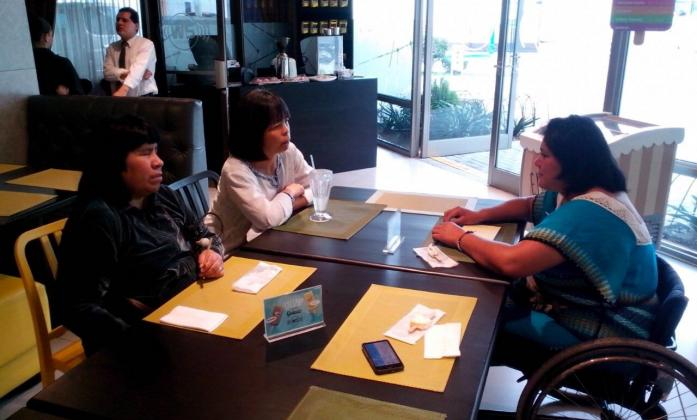 Silvia Quan, Olga Montafur and Rosario Galarza at the first Meeting of Leaders Indigenous Persons with Disabilities in Guatemala