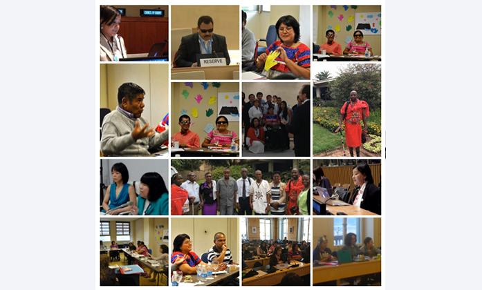 Collage of indigenous persons with disabilities participating at meetings in Geneva, UN.