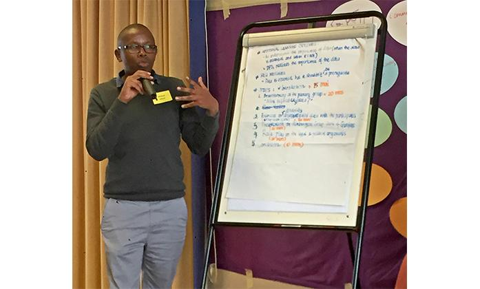 Michael Njenga speaking during the BRIDGE ToT Module B in Brighton 2017