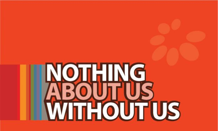 Text: Nothing about us without us, in background orange color