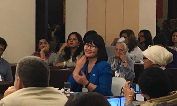 Jigjid Dulamsuren representing the World Federation of the Deaf has intervened several times over the last two days bringing to the floor the issues of women living in rural areas