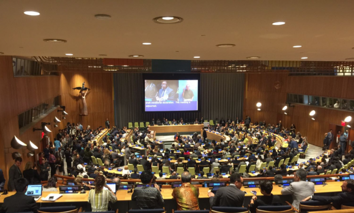 Above: The Trusteeship Council Chamber during the adoption of the Ministerial Declaration