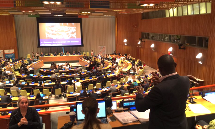 Ambrose Murangira making remarks during HLPF