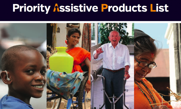 Image shows the text Priority Assistive Product list, followed by an image of a boy using a hearing aid, a young lady in a wheelchair, an older gentleman using a walking frame.