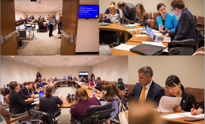 4 split screens of conference delegates