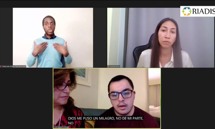 Screenshot from the webinar. The screenshot shows IDA Chair with her son, Ana Lucia D'Arino, a professional women, from the WFDB and Sign Language Interpreter.