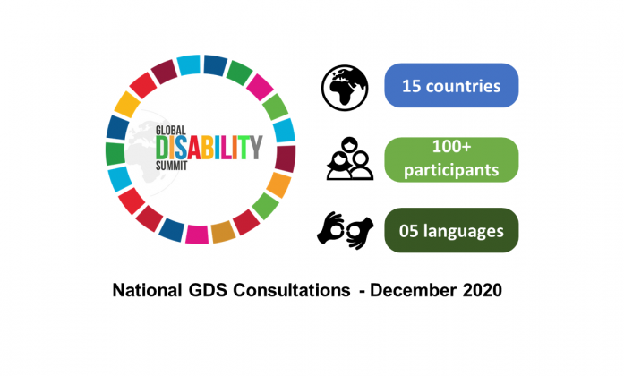 Infographic: 15 countries; 100+ participants; 5 languages; global disability summit logo.