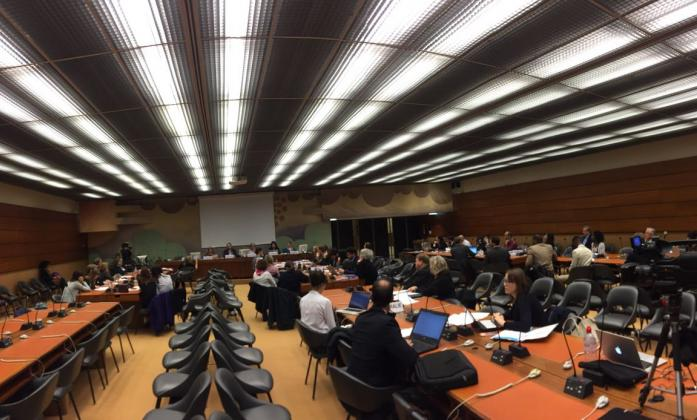 The meeting room during the World Downs Syndrome Day session in Geneva.