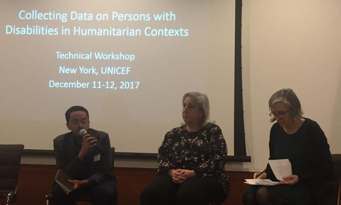 Berhanu Tefera (ADF) on a panel with Jennifer Madans (Washington Group On Disability Statistics) and Kate Alley (Humanitarian Performance Monitoring Lead, UNICEF)
