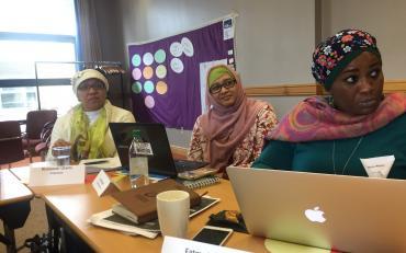 Dwi Ariyani, Disabilty Rights Fund, Risnawati Utami and Fatma Wangari on day 2 of the BRIDGE Training of Trainers