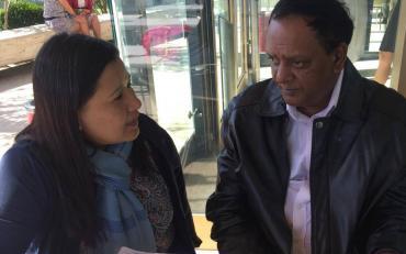 Pratima Gurung speaking with CRPD Committee member, Mr Pyandee