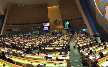 Above: The General Assembly hall at the Opening session of the COSP