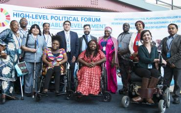 The Stakeholder Group of Persons with Disabilities at the first day of the HLPF at the UN in New York