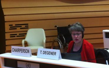 Theresa Degener, Chair of the CRPD Committee, at the Committee meeting.