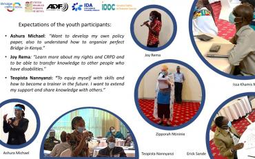 Banner of youth participants from Bridge and their expectations