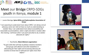Banner of youth Bridge CRPD SDGs participants in Kenya, Louise and Paul saying their expectations