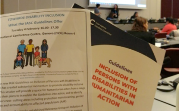 picture of a printed version of the IASC guidelines and the flyer of the event