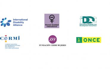 Logos of IDA, Women Enabled International, IDDC, ONCE, CERMI and Fundacion Cermi Mujeres