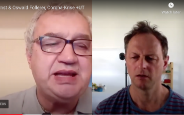 Screen-grab from the interview with Oswald Föllerer about Covid19