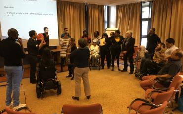 Trainees during day 6 simulating the work of the CRPD Committee in the review process