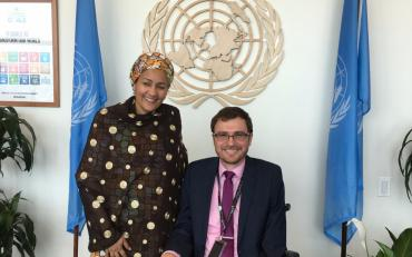 IDA Executive Director Vladimir Cuk with Ms. Amina Mohammed at her office