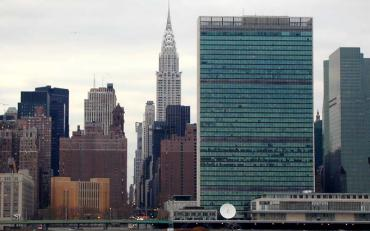 Skyline of Manhattan, showing the UN Building and the Chrysler building in the background