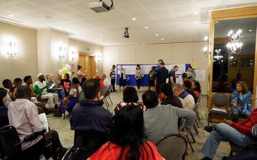 group of humanitarian actors presenting on CRPD