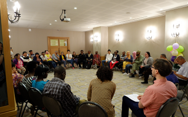 Participants seating in circle at Bridge training day 3