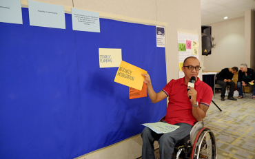 Abner Manlapaz presenting on mechanisms and tools against CRPD