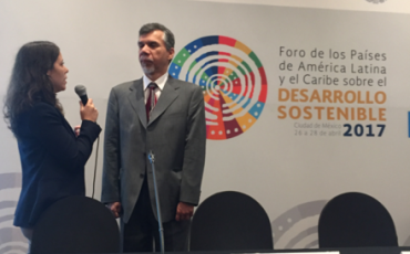 Dean Lermen being interviewed at the ECLAC meeting in Mexico, April 2017
