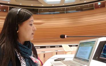 Pratima Gurung speaks at the 8th pre-session of the CRPD